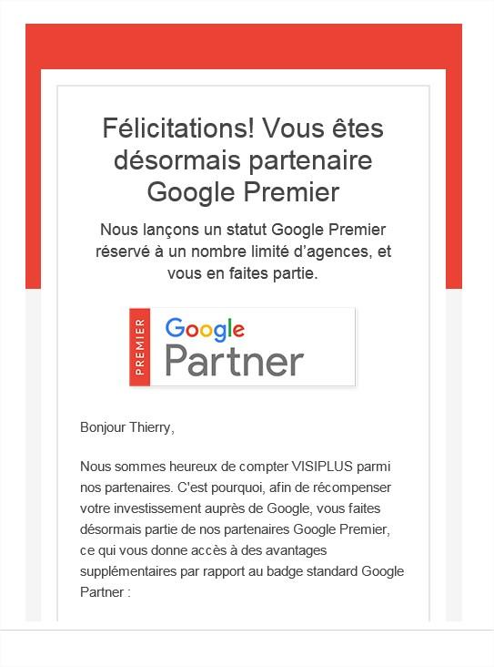Félicitations pour votre nouveau badge partenaire Google Premier  Google Partners - Message (HTML)