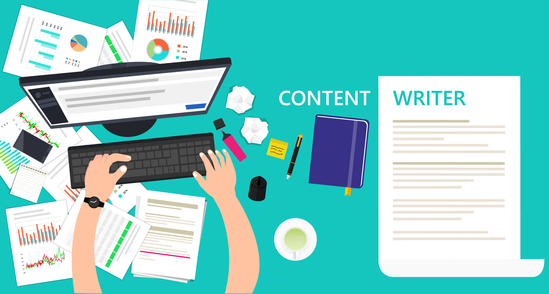Content writer and copywriter workplace