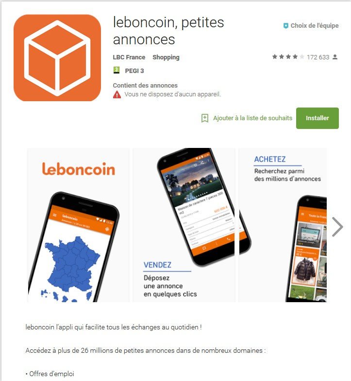 Source : Google Play Store - LeBoncoin