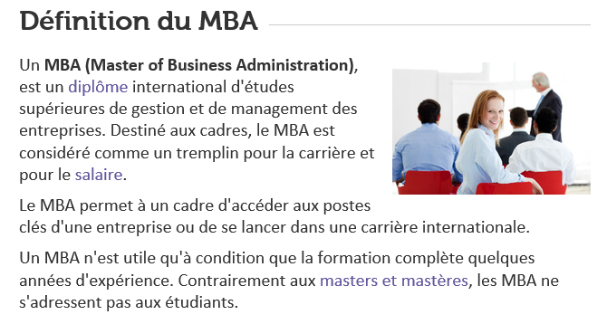 MBA cadres management marketing communication digital