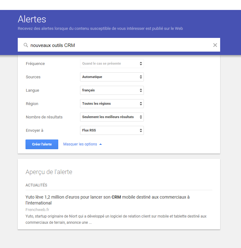 Google Alerte outil veille concurrentielle