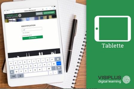 Ci-dessus : accès à l'espace apprenant de Visiplus digital learning via tablette