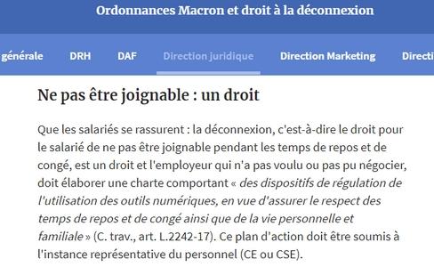"""Extrait de l'article """"Ordonnances Macron et droit à la déconnexion"""" du 11/04/2018. Auteur : Marie Hautefort. Source : Les Echos.fr"""