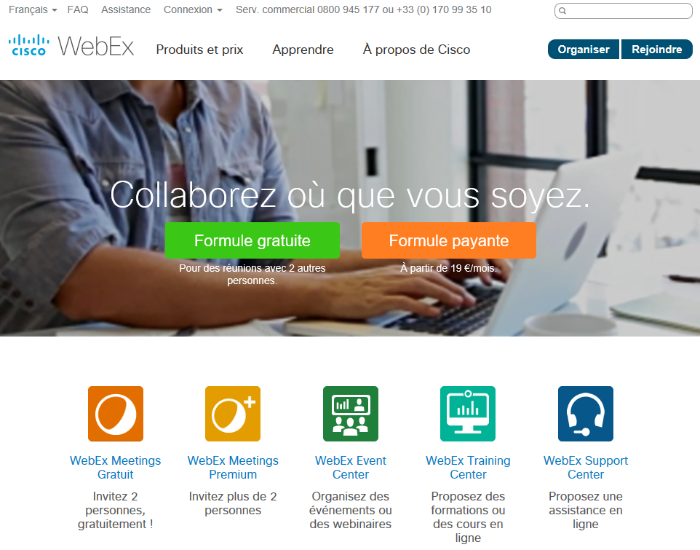 Source image capture d'écran : webex.com