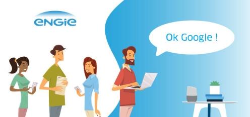 Ci-dessus : ENGIE propose un assistant vocal accessible via Google Home ou Google Assistant depuis 2018. Source image : particuliers.engie