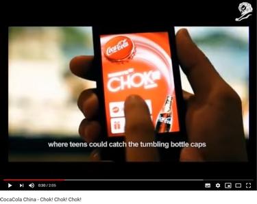 """Ci-dessus : un aperçu de l'application """"Coca-Cola Chok !"""" extrait de la vidéo promotionnelle. Source : chaîne YouTube de Natalia Hatalska"""