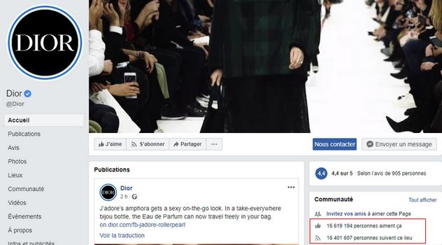 Ci-dessus : une capture d'écran de la page Facebook de Dior, qui compte une très grande communauté (plus de 16  millions de fans).