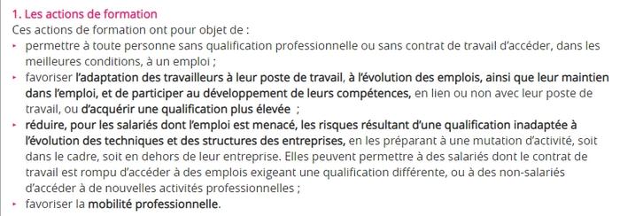 Ci-dessus : les objectifs possibles pour une action de formation. Source : travail-emploi.gouv