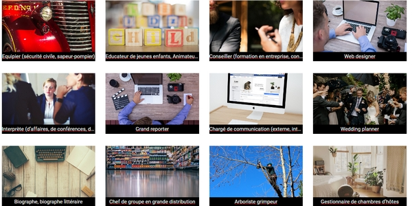 Ci-dessus : un échantillon des professions accessibles sur TestUnMetier. Plusieurs métiers du digital (ex. : web designer, traffic manager) peuvent être découverts.