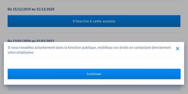 Capture d'écran montrant la phase d'inscription sur l'application CPF côté agent public