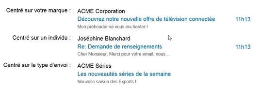 Différents types d'objets d'email