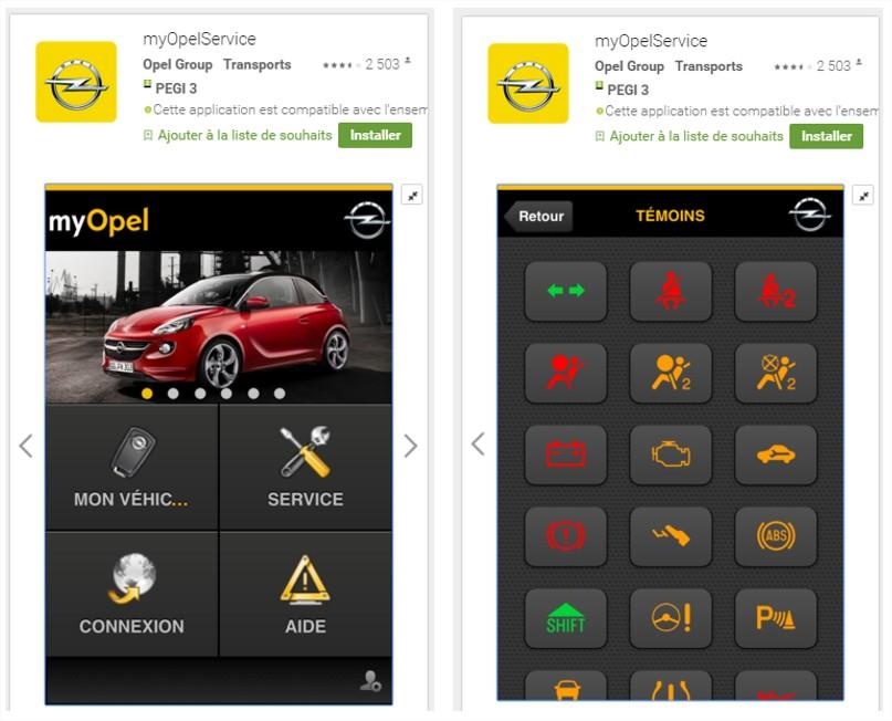 les fonctionnalités du site mobile Opel