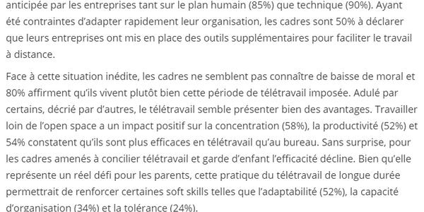 Extrait de l'étude Cadremploi concernant l'impact du télétravail sur la performance des cadres pendant le confinement.