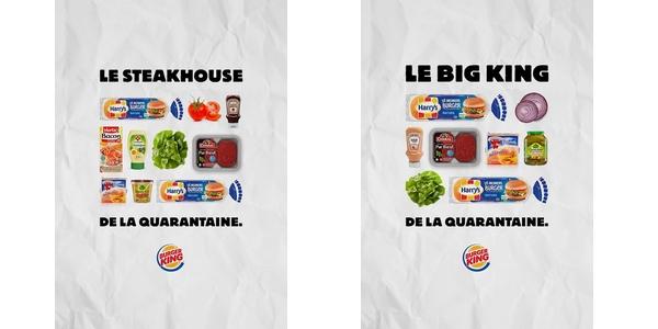 2 infographies publiées par Burger King lors de sa campagne de communication durant la pandémie de Covid-19