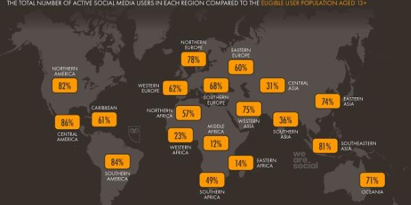 La carte du monde des utilisateurs de réseaux sociaux