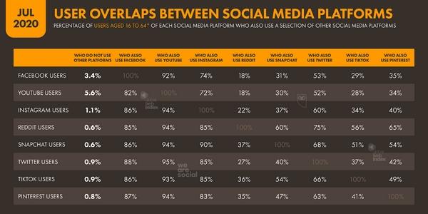 réseaux sociaux : la plupart des utilisateurs fréquentent au moins deux plateformes.
