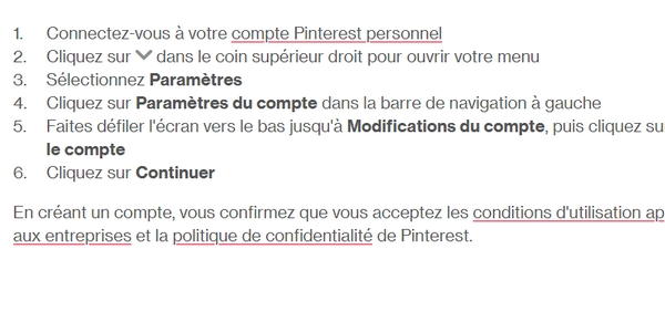 Méthodologie pour transformer votre compte privé Pinterest en compte professionnel.