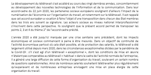 accord national interprofessionnel du 26 novembre 2020 : le préambule rappelle le formidable essor du télétravail suite à la crise sanitaire.