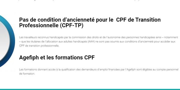 dispositifs de financement 2021 : pas de conditions d'ancienneté pour les travailleurs handicapés demandant un CPF de transition
