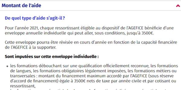 dispositifs de financement 2021 : l'enveloppe annuelle de L'AGEFICE est plafonnée à 3500 €.