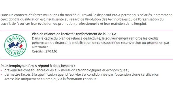 Le dispositif PRO-A est renforcé en 2021 dans le cadre du plan France Relance.