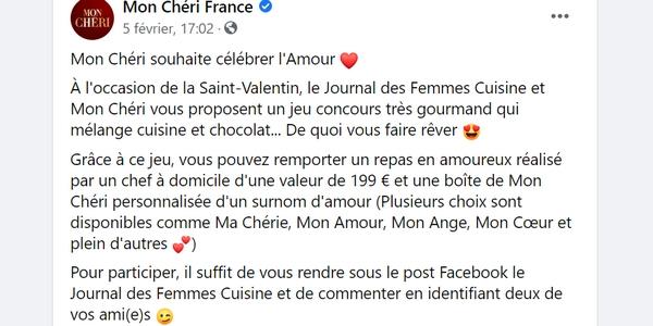 Le jeu concours de la Saint-Valentin 2021 organisé par le Journal des Femmes Cuisine et Mon Chéri.