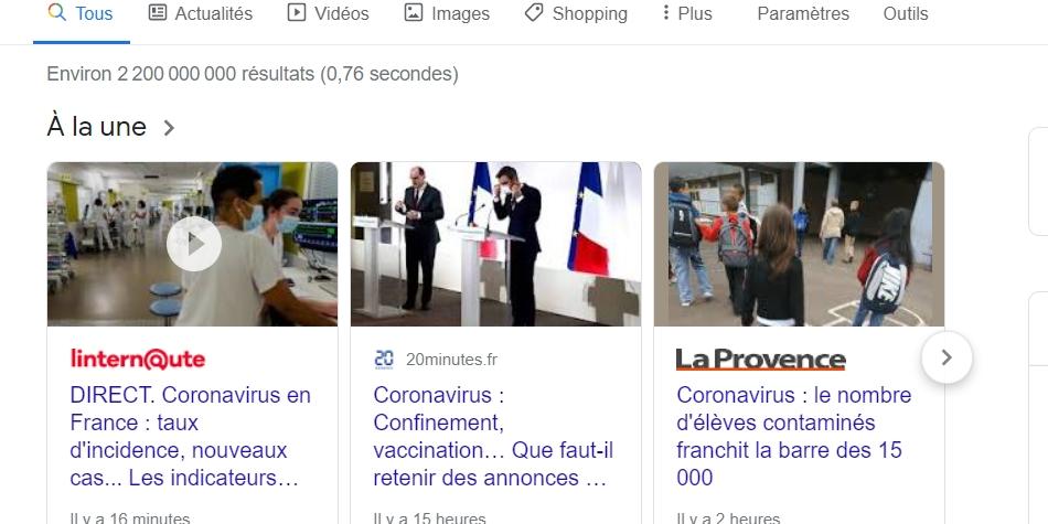 """Google Page Experience change la donne pour les articles d'actualités s'affichant dans le carrousel """"A la Une""""."""