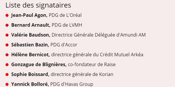 égalité femmes-hommes : parmi les 41 responsables de grandes entreprises s'engageant à la promouvoir plus activement figurent entre autres le PDG de L'Oréal, le PDG d'Accor ou encore la Directrice Générale du Crédit Mutuel Arkéa.