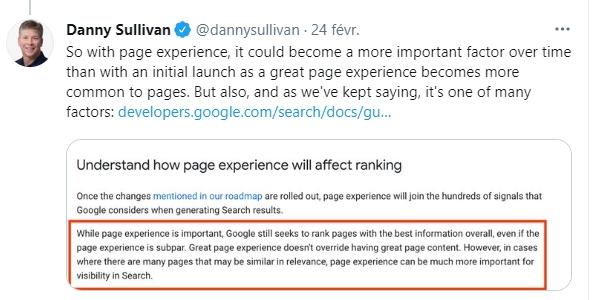 Google Page Experience : Danny Sullivan, porte-parole de Google, explique que les facteurs UX prendront plus de poids au fil du temps.