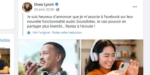 La nouvelle fonctionnalité Facebook audio social est annoncée sur la page de l'humoriste Drew Lynch.