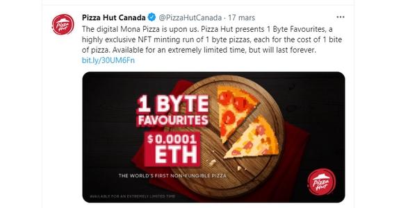 """NFT : la première """"pizza non fongible"""" de Pizza Hut Canada a connu un beau succès"""