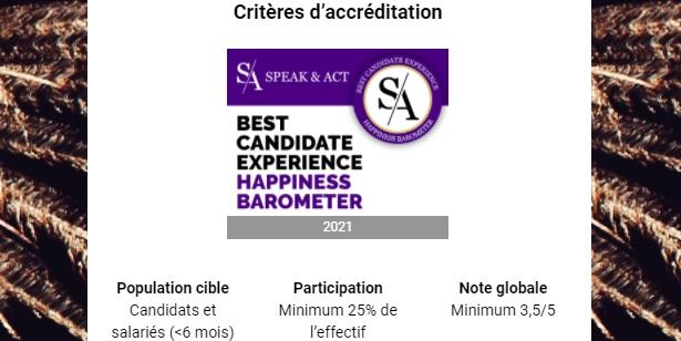 Les critères d'accréditation du label Best Candidate Experience Happiness Barometer 2021.
