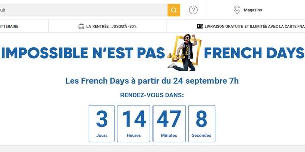 Pour annoncer les French Days de la rentrée, la Fnac affiche un compte à rebours sur son site !